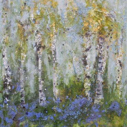 Sally Stafford , Bluebell Woods, 1m square, Acrylic on canvas. ©