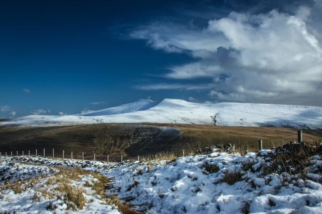 First snow of 2012 winter over Pen Y fan and Corn Du looking from Fan Frynych. By Anthony Pease ©
