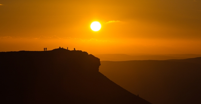 People enjoying the sunset from Corn Du. This was taken from Pen Y Fan. By Anthony Pease ©