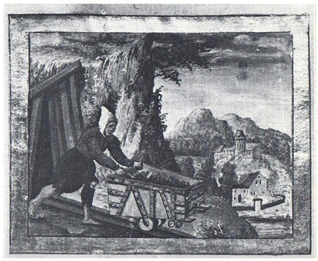 Early forms of railway: German miner 1556 ©
