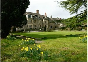Llangoed Hall, back with daffodils