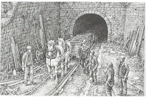 Built around 1818, this was the longest tunnel ever built anywhere for a horse-drawn railway. Pwlldu tunnel drawing ©