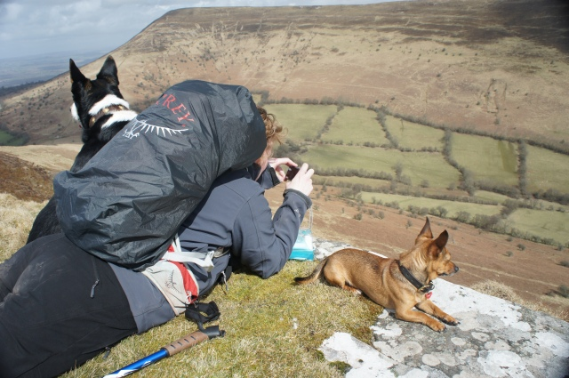 "My favourite...Julie with Max and Gizmo trying to perfect landscape photography...with ""helpful"" dogs. By Anne Griffiths ©"