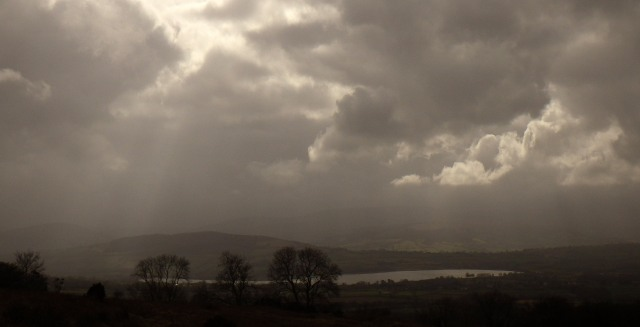 Moody Llangorse Lake.  By Anne Griffiths ©