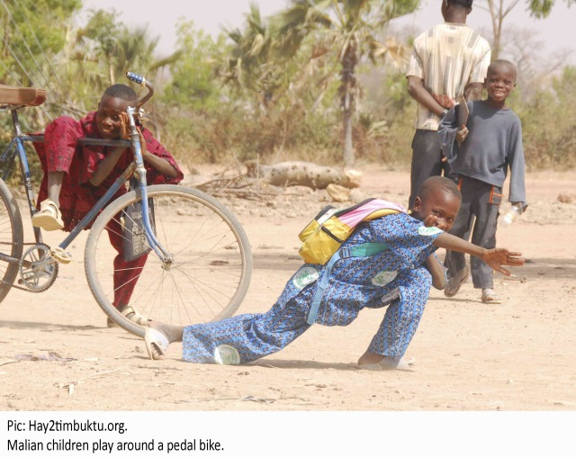 Malian children play around a pedal bike