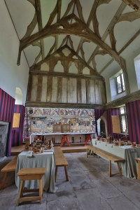 The Hall with tables set for a meal Tretower Court Cadw Sites SAMN: BR117 NGR: SO185211 Powys Mid Houses - Domestic Medieval Domestic Historic Sites