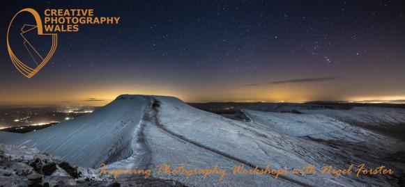 Brecon Beacons Night Sky images. Pen y Fan and Corn Du